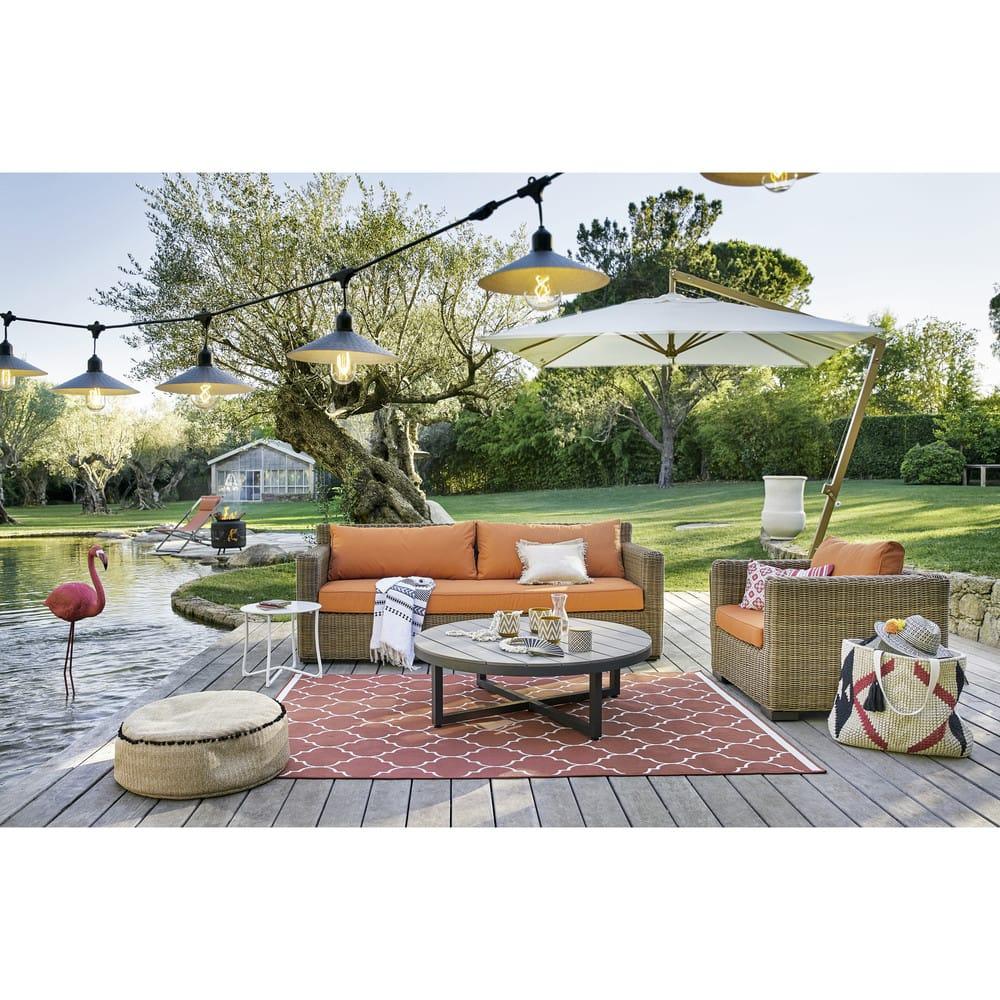Table basse de jardin ronde en composite et aluminium