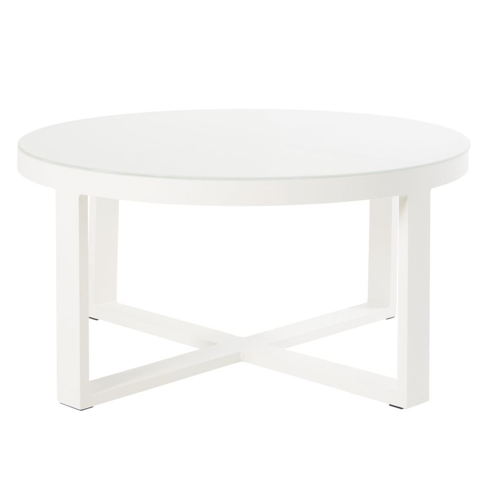 table basse de jardin ronde en m tal blanc et verre thetis. Black Bedroom Furniture Sets. Home Design Ideas