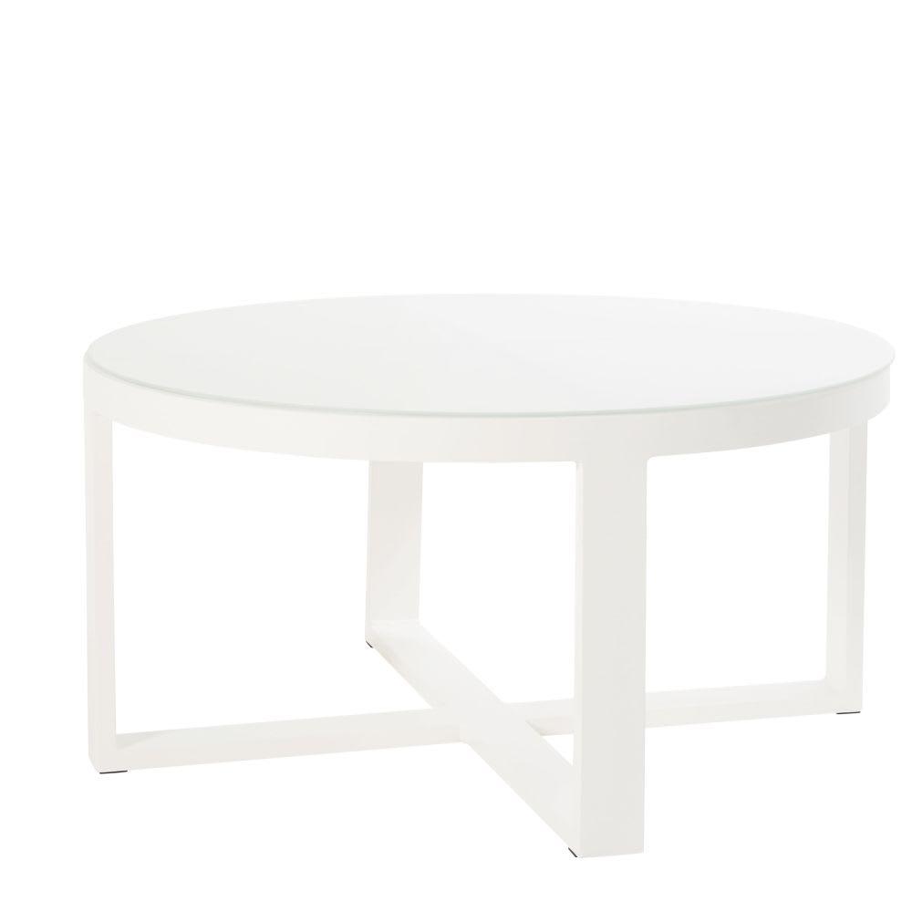 table basse de jardin ronde en m tal blanc et verre thetis. Black Bedroom Furniture Sets. Home Design Ideas