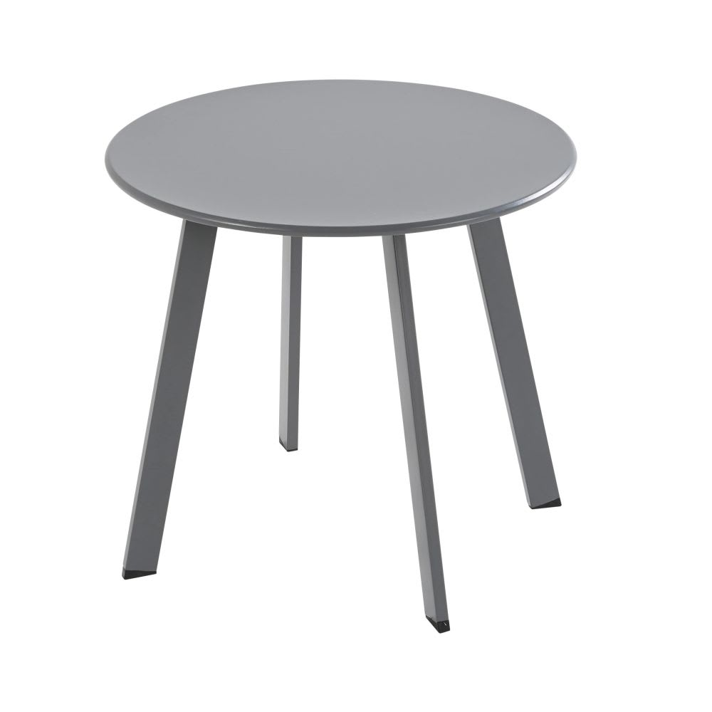 Table basse de jardin ronde en m tal gris anthracite monopoli maisons du monde - Table basse jardin metal ...