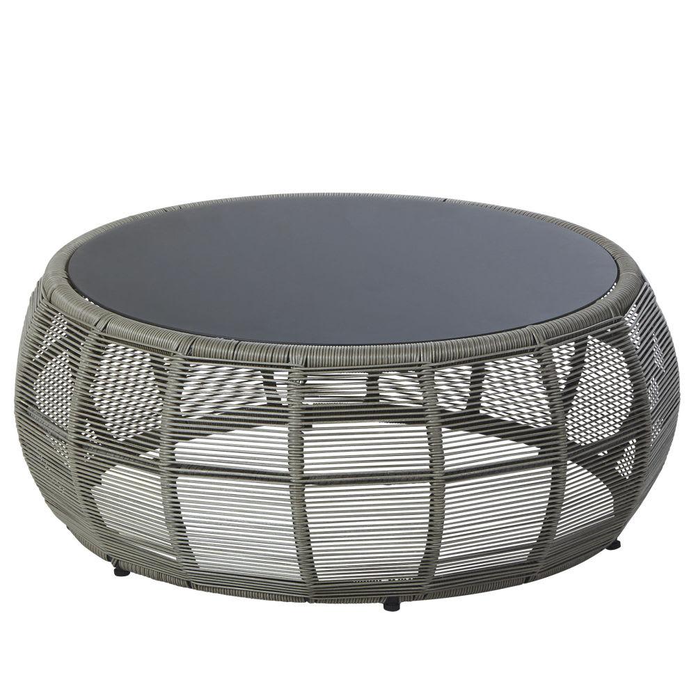 Table basse de jardin ronde en résine tressée et verre gris Tamarin ...