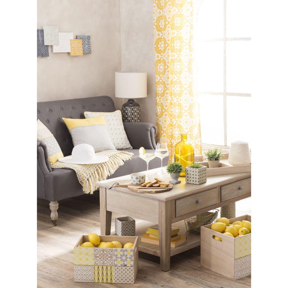 Table basse en bois de paulownia grise l 110 cm cavaillon maisons du monde - Carte sur table cavaillon ...