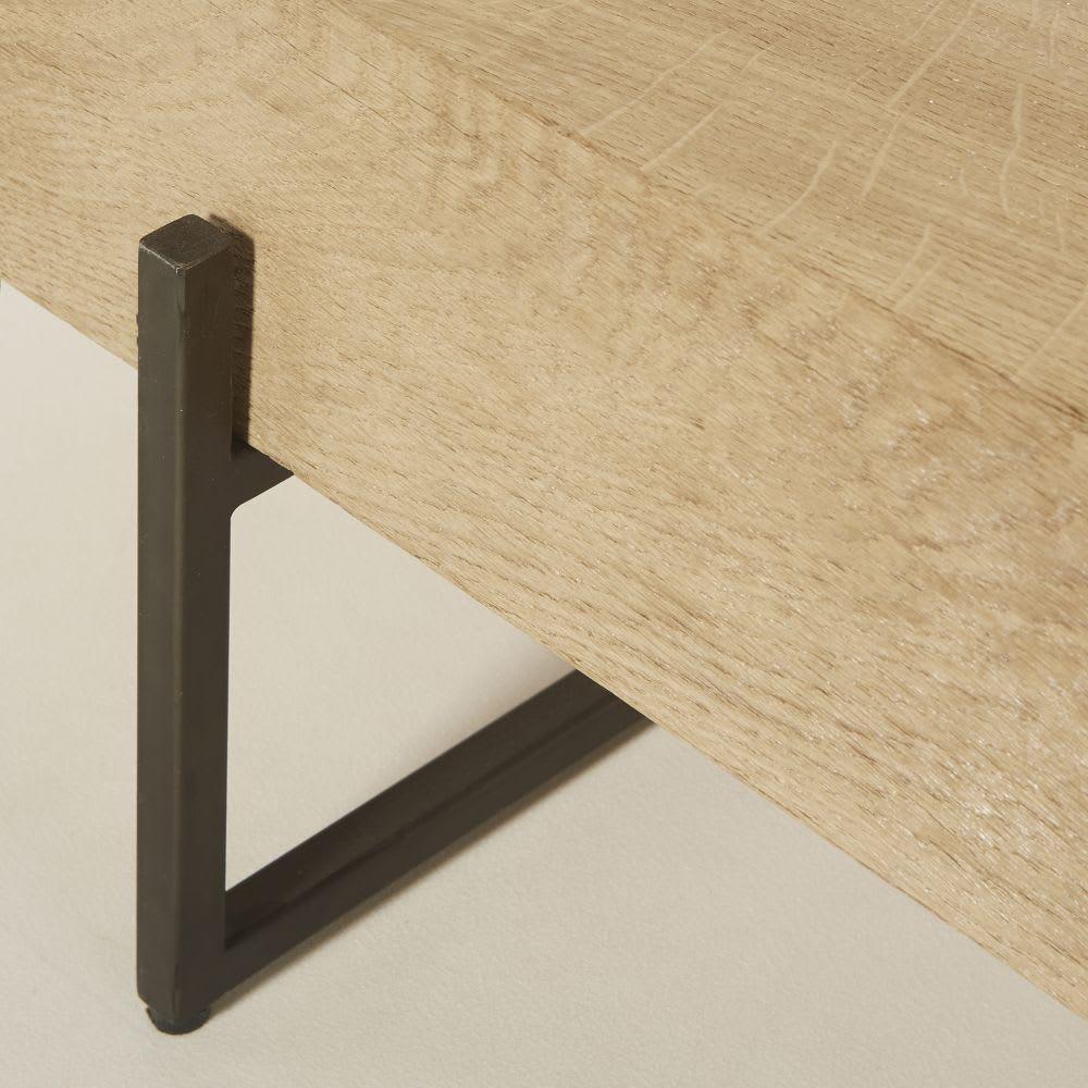 table basse en ch ne massif et m tal noir magnus maisons. Black Bedroom Furniture Sets. Home Design Ideas