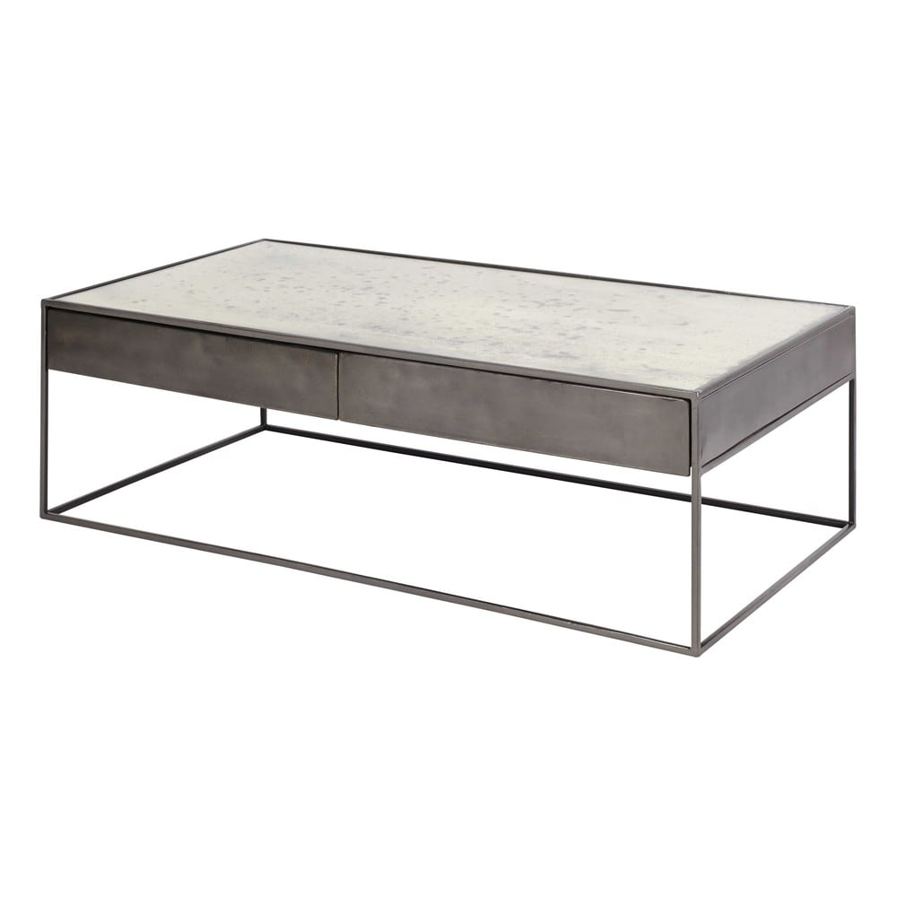 table basse en fer gris et verre tremp calixte maisons. Black Bedroom Furniture Sets. Home Design Ideas