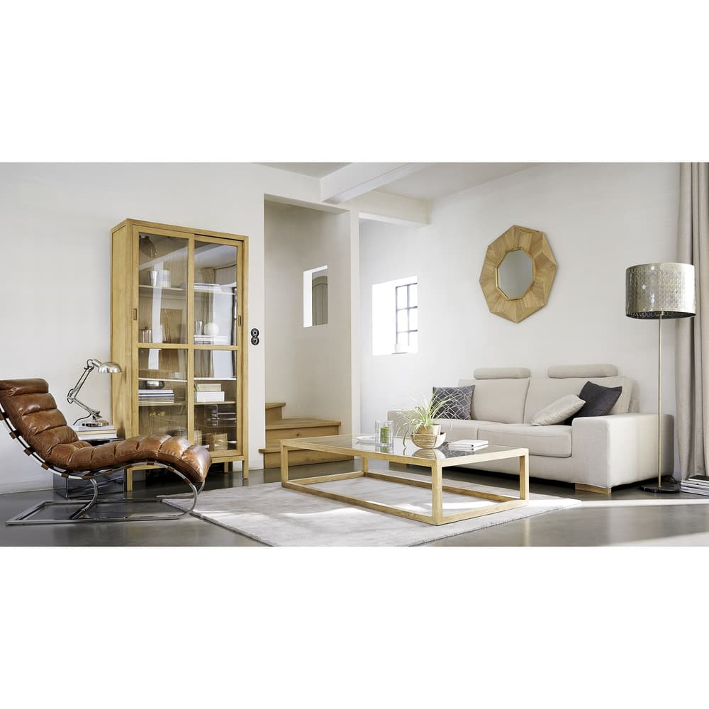 table basse en fr ne massif et verre tremp verona. Black Bedroom Furniture Sets. Home Design Ideas