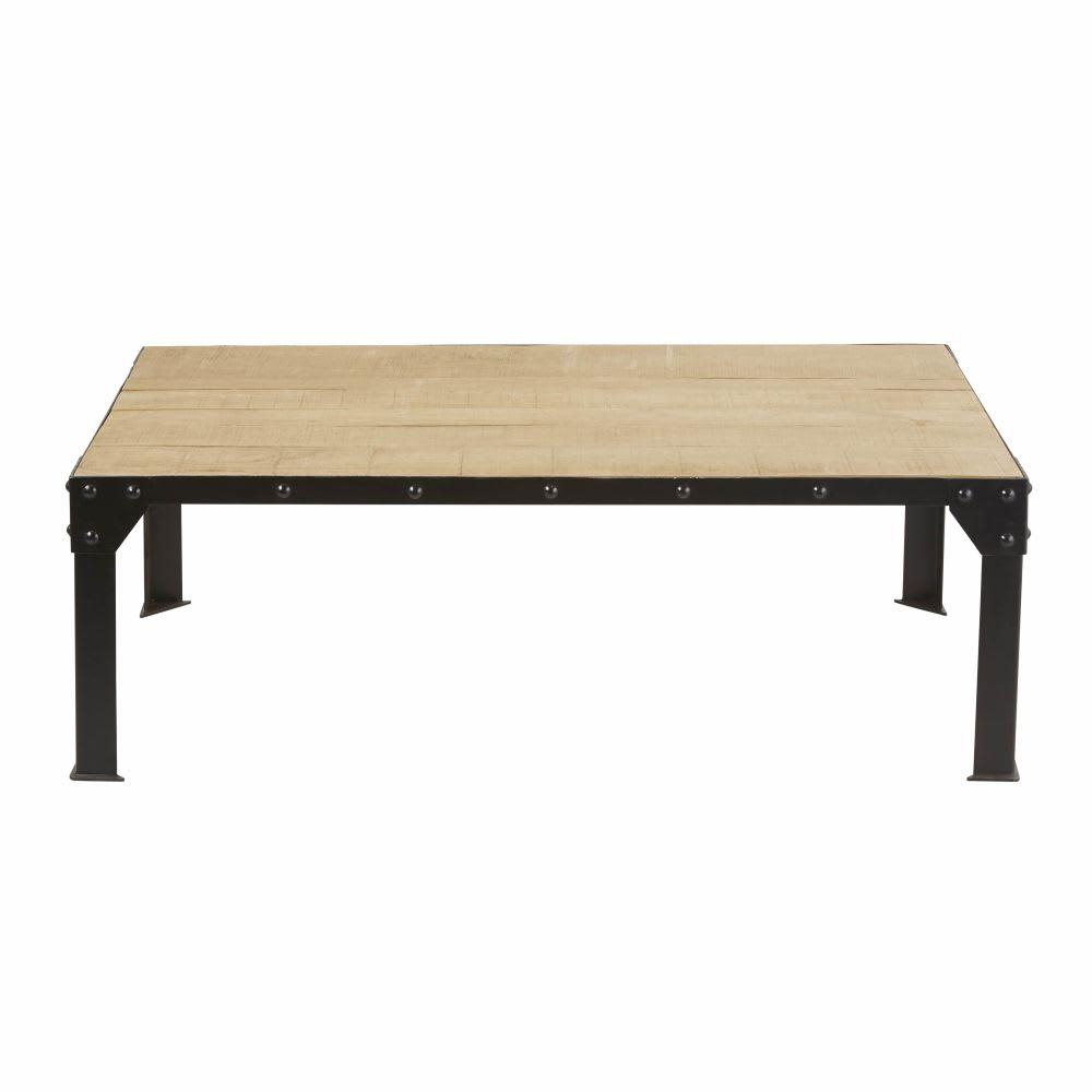 Table basse en manguier massif et m tal noir factory maisons du monde - Table basse en manguier ...