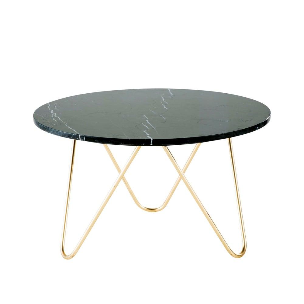 Table basse en marbre noir et métal doré Eagle | Maisons du Monde