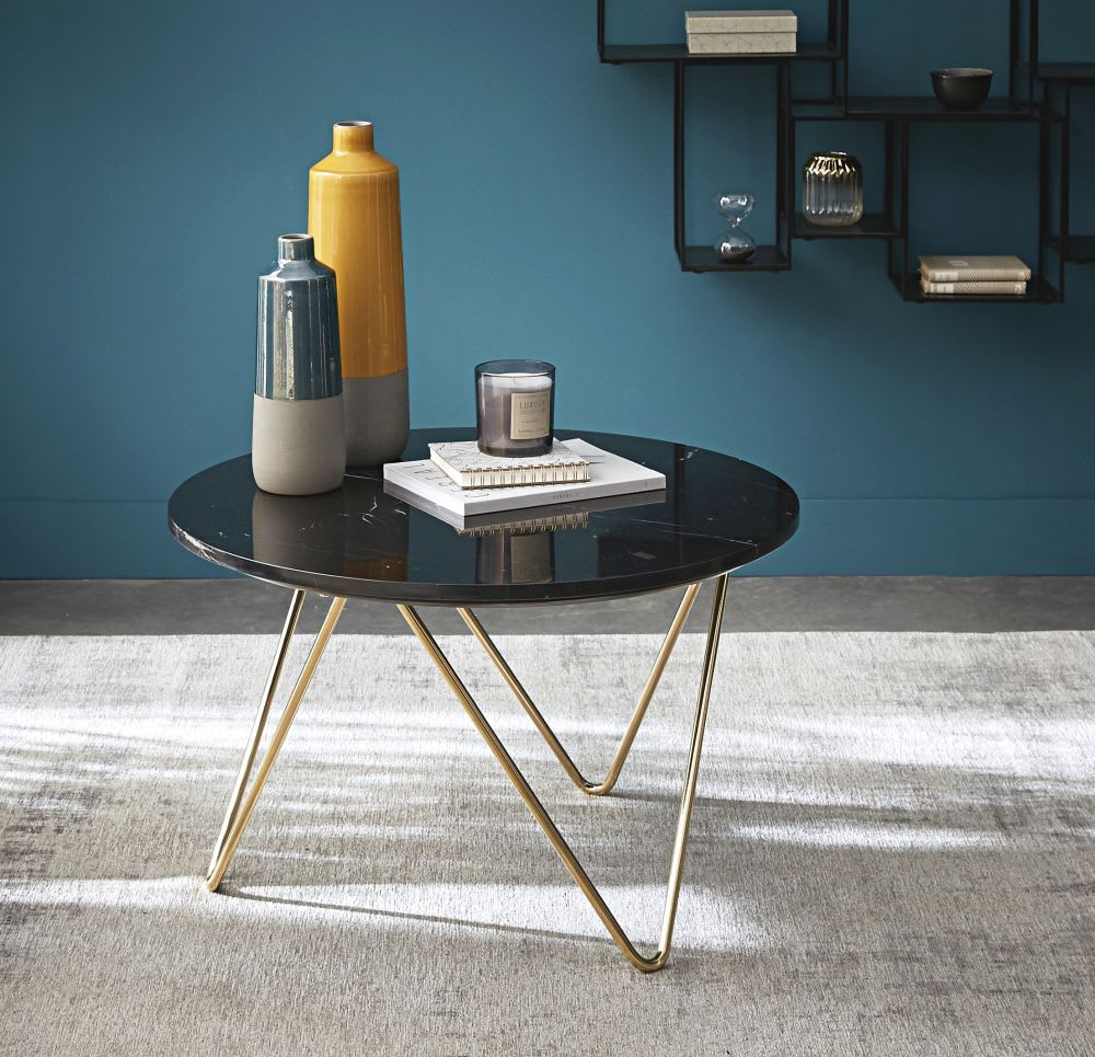 table basse en marbre noir et m tal dor eagle maisons. Black Bedroom Furniture Sets. Home Design Ideas