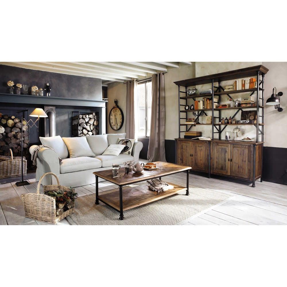 table basse en sapin recycl et m tal fontainebleau maisons du monde. Black Bedroom Furniture Sets. Home Design Ideas