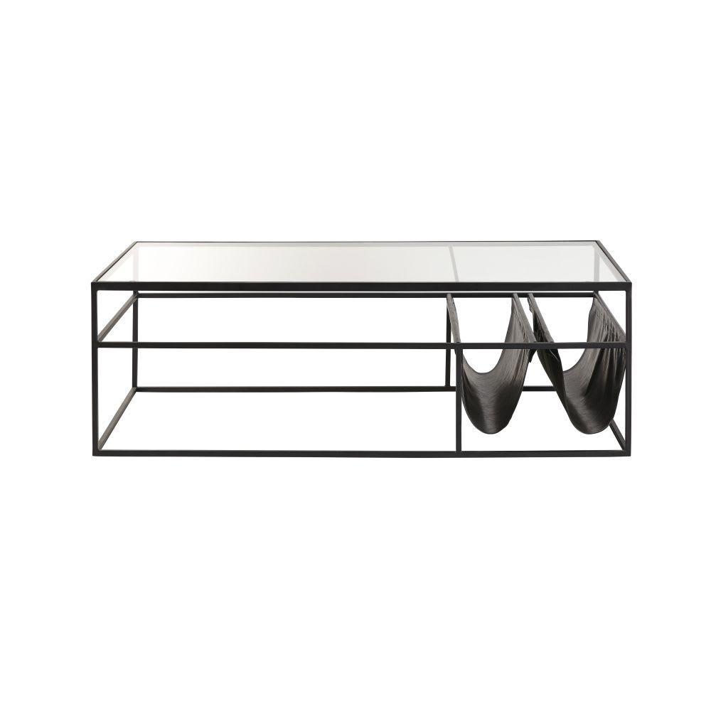 table basse en verre et m tal noir newspaper maisons du. Black Bedroom Furniture Sets. Home Design Ideas