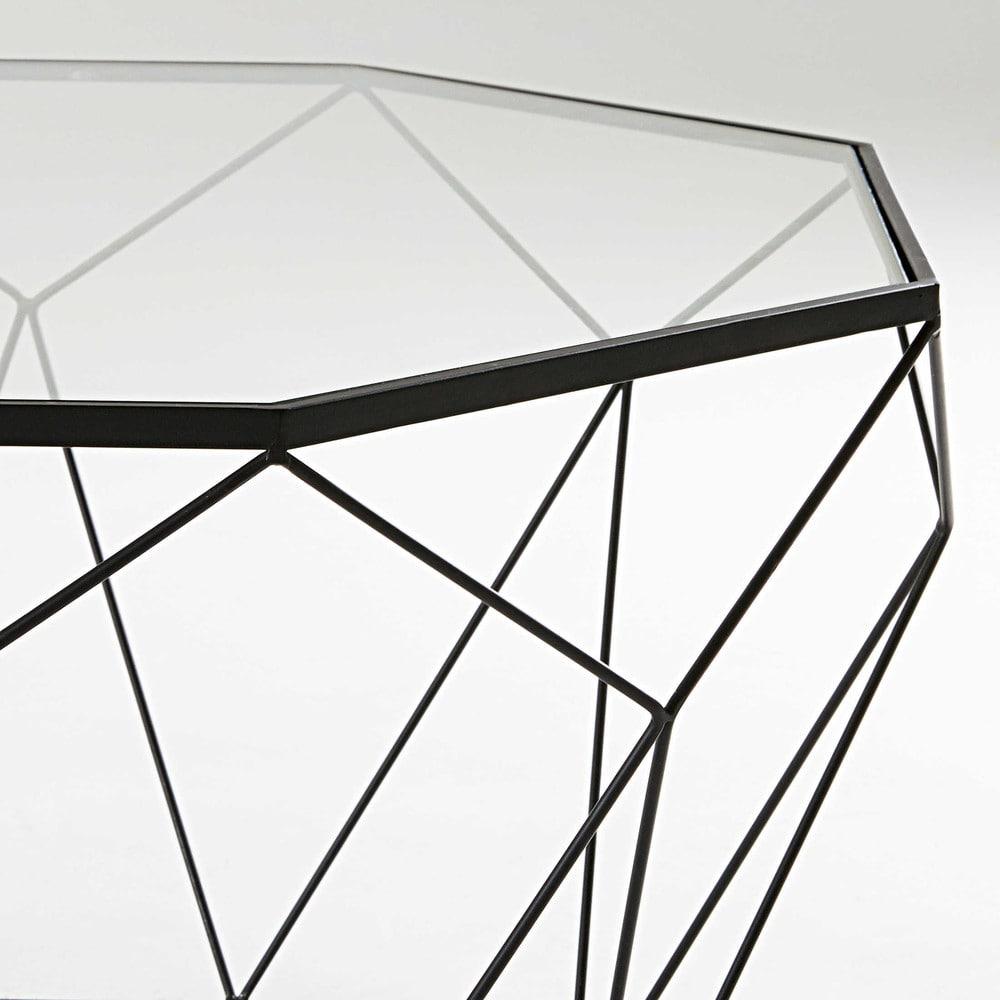 table basse en verre tremp et m tal noir blossom. Black Bedroom Furniture Sets. Home Design Ideas