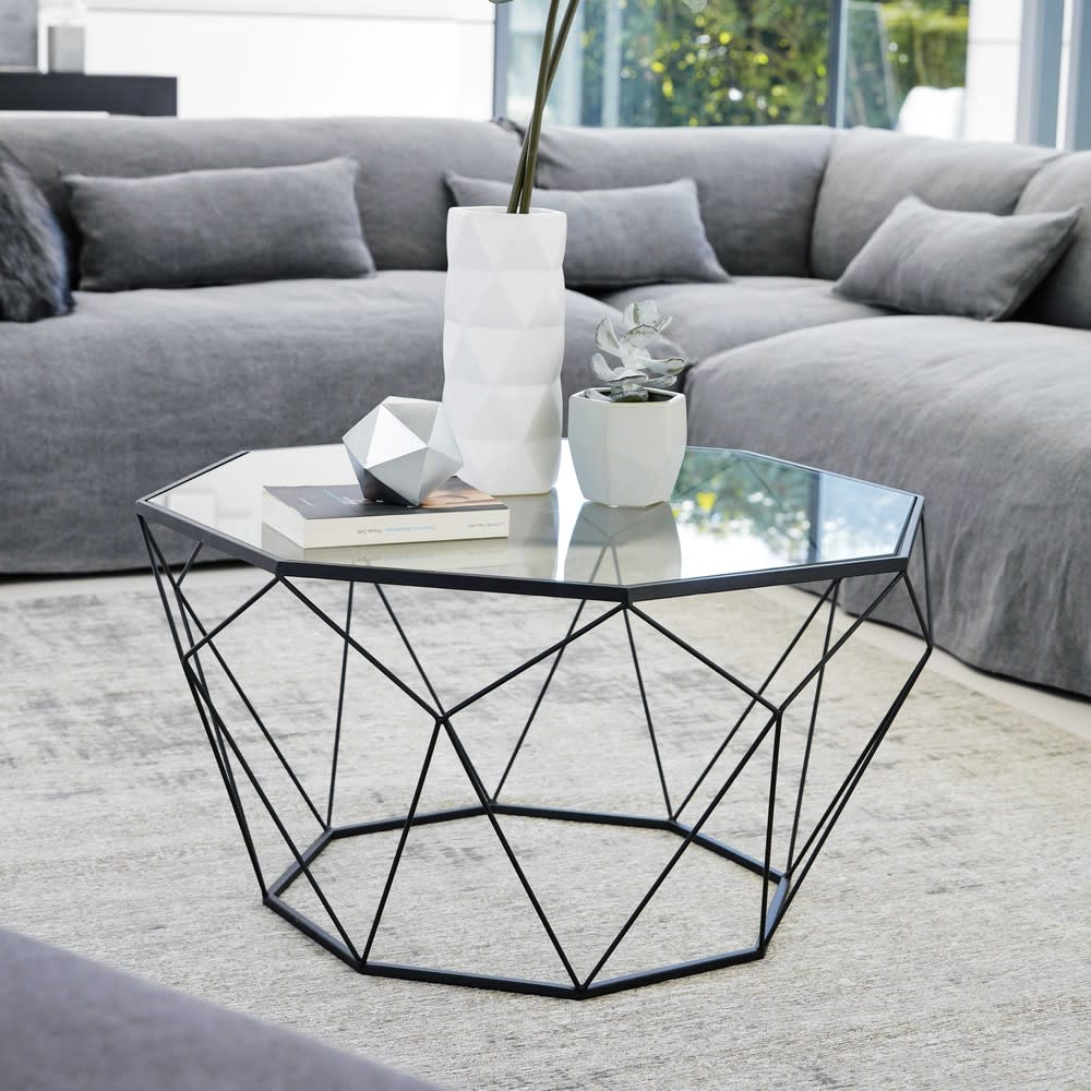 table basse en verre tremp et m tal noir blossom. Black Bedroom Furniture Sets. Home Design Ideas