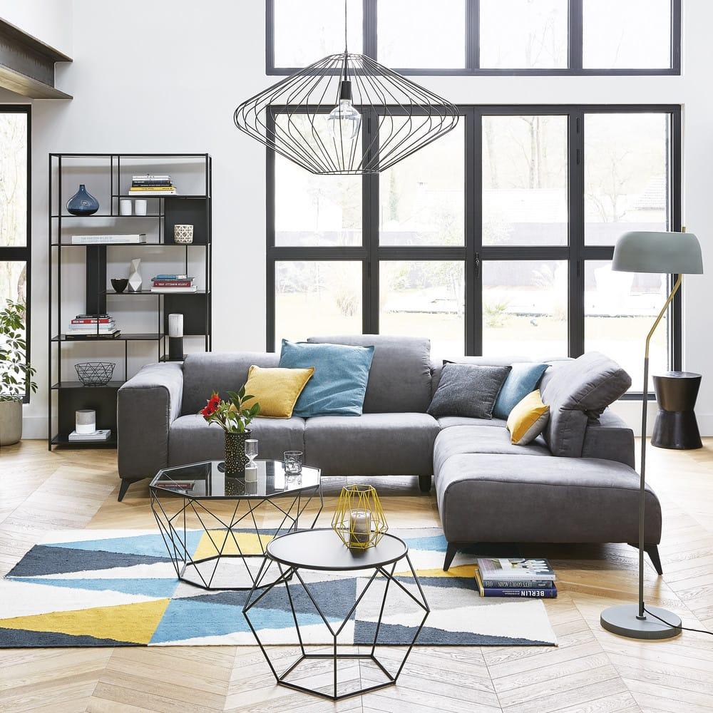 table basse en verre tremp et m tal noir blossom maisons du monde. Black Bedroom Furniture Sets. Home Design Ideas