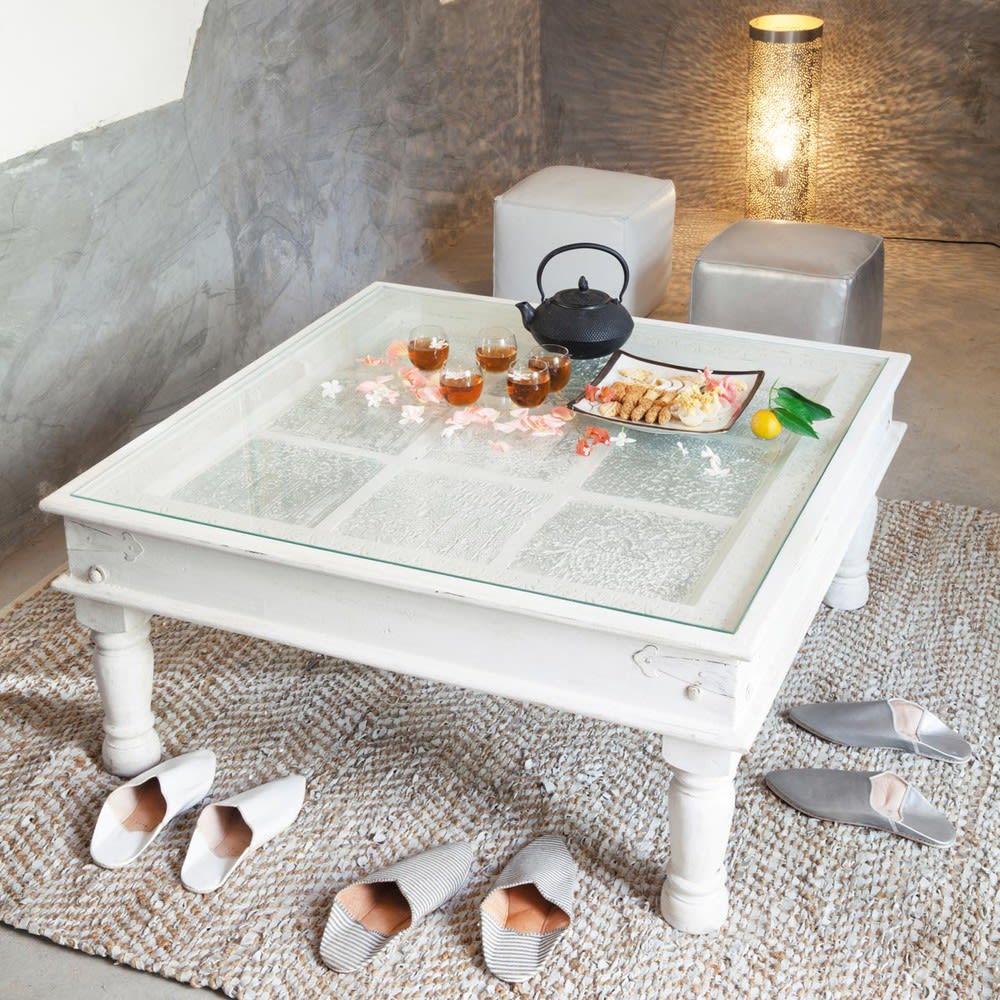 Table basse indienne en manguier massif blanche l 100 cm udaipur maisons du monde - Table basse en manguier ...