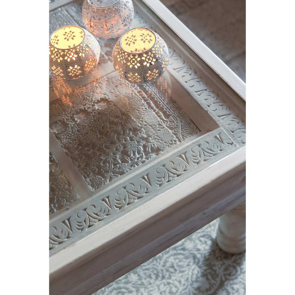 Table basse indienne en manguier massif blanche l 100 cm - Petite table maison du monde ...