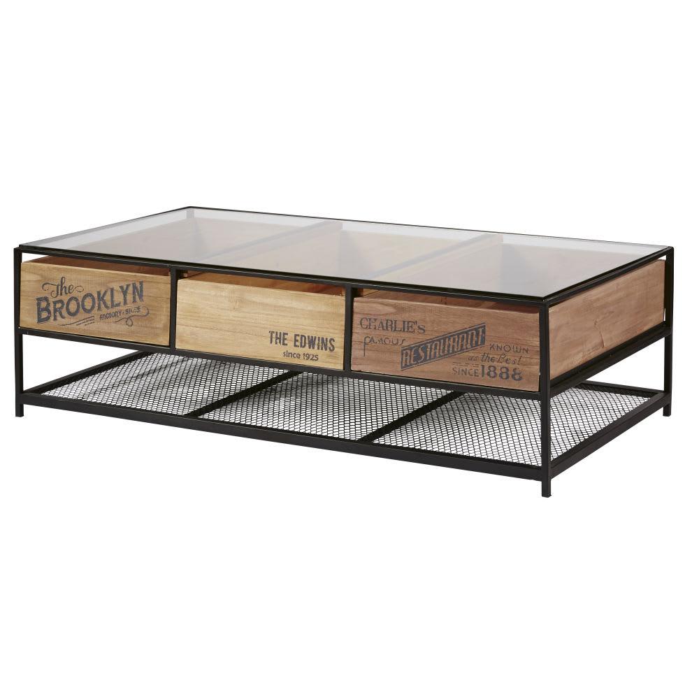 Table basse indus 3 tiroirs en verre et m tal noir papel Table basse metal noir
