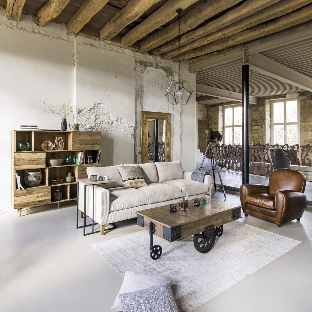 table basse indus roulettes en manguier massif et m tal l 130 cm colorado maisons du monde. Black Bedroom Furniture Sets. Home Design Ideas
