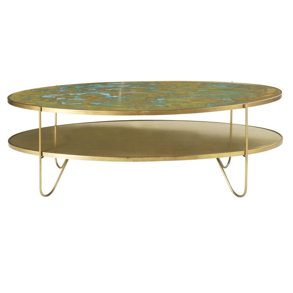 table basse ovale 2 plateaux coloris laiton zenith maisons du monde