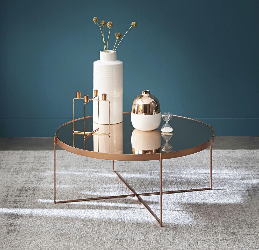 table basse ronde avec miroir en m tal cuivr com te. Black Bedroom Furniture Sets. Home Design Ideas