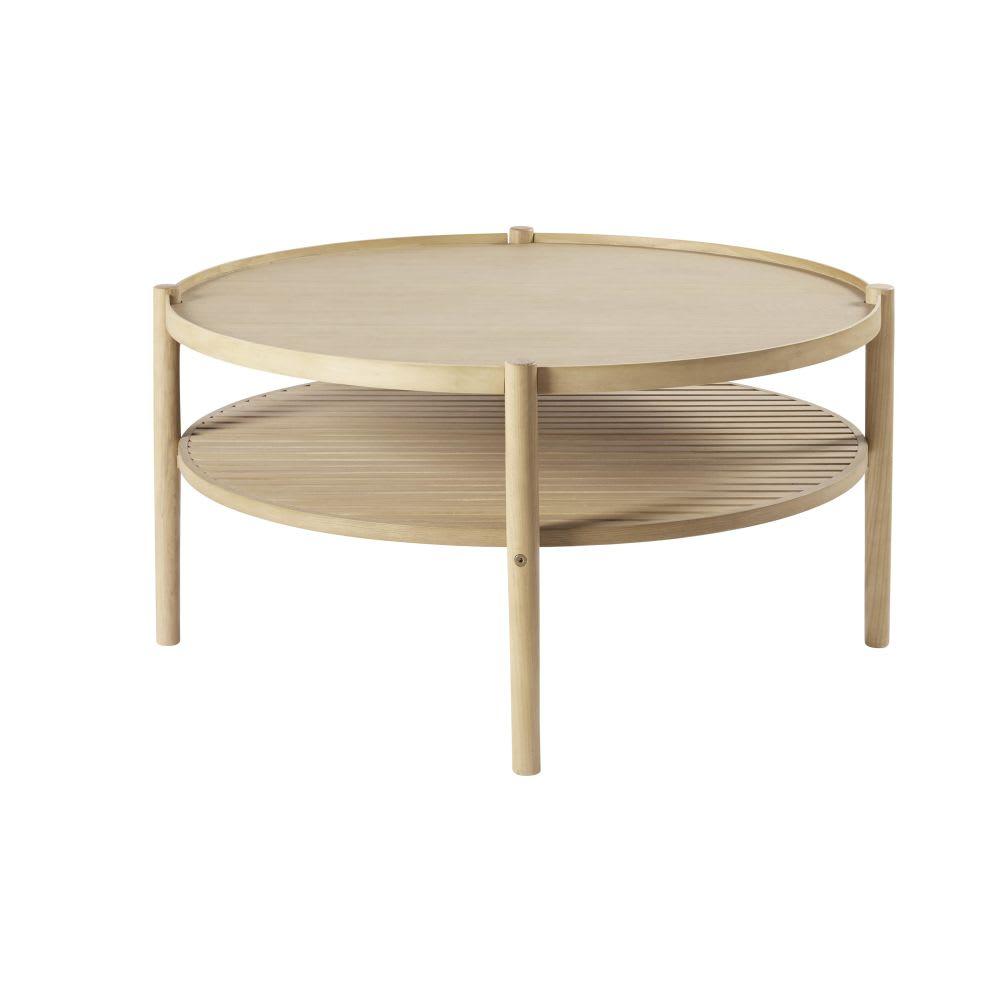 table basse ronde double plateau okinawa maisons du monde. Black Bedroom Furniture Sets. Home Design Ideas