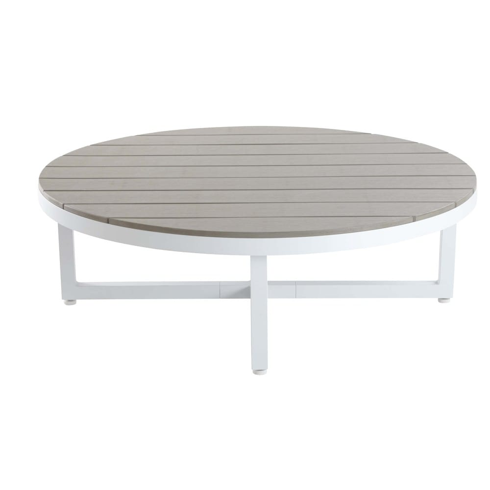 table basse ronde en aluminium et composite escale. Black Bedroom Furniture Sets. Home Design Ideas