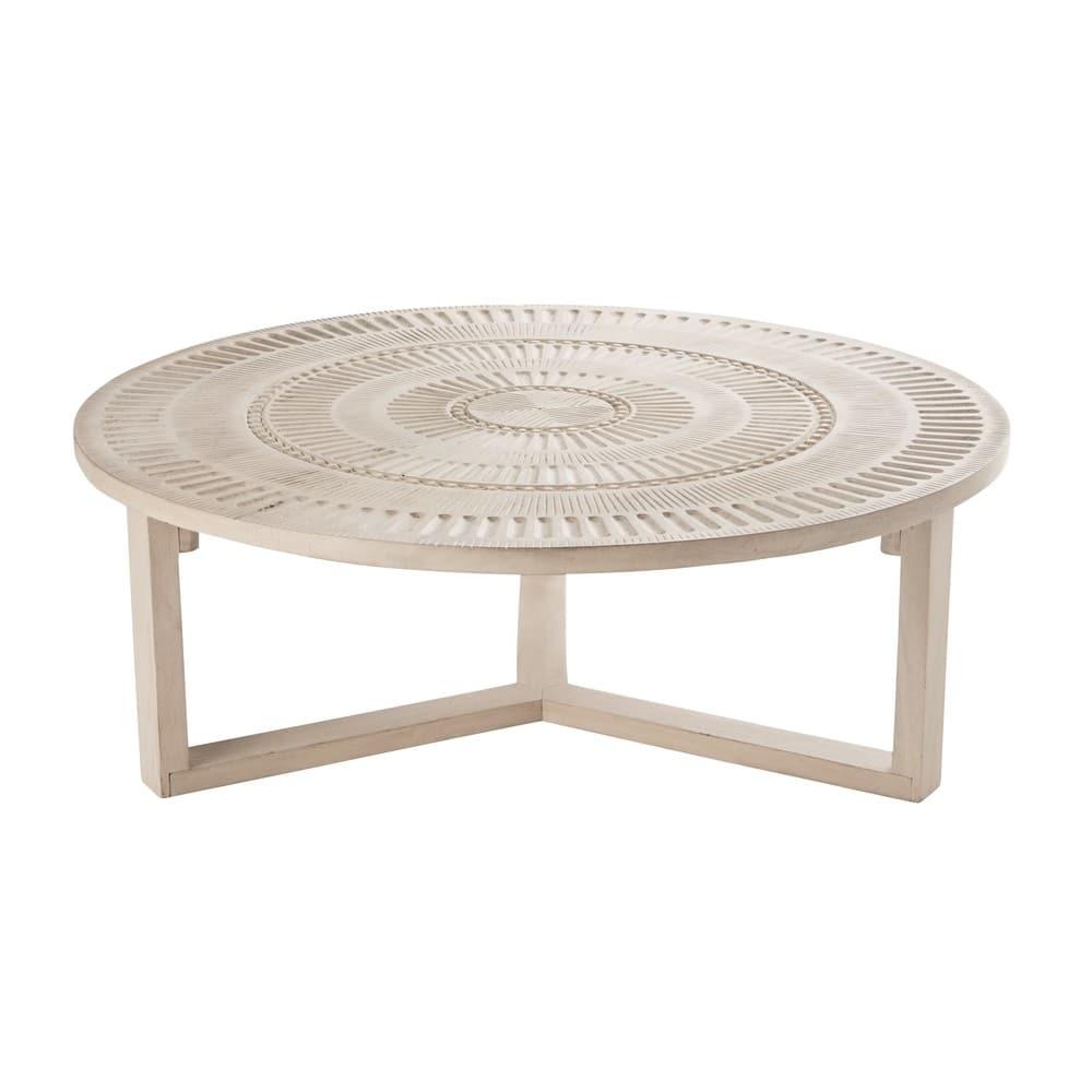 table basse ronde en manguier sculpt abenaki maisons du. Black Bedroom Furniture Sets. Home Design Ideas