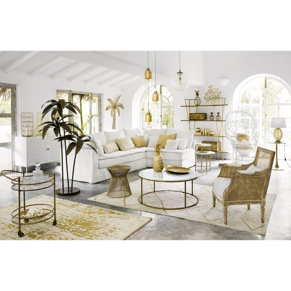table basse ronde en marbre blanc et fer dor izmir maisons du monde. Black Bedroom Furniture Sets. Home Design Ideas