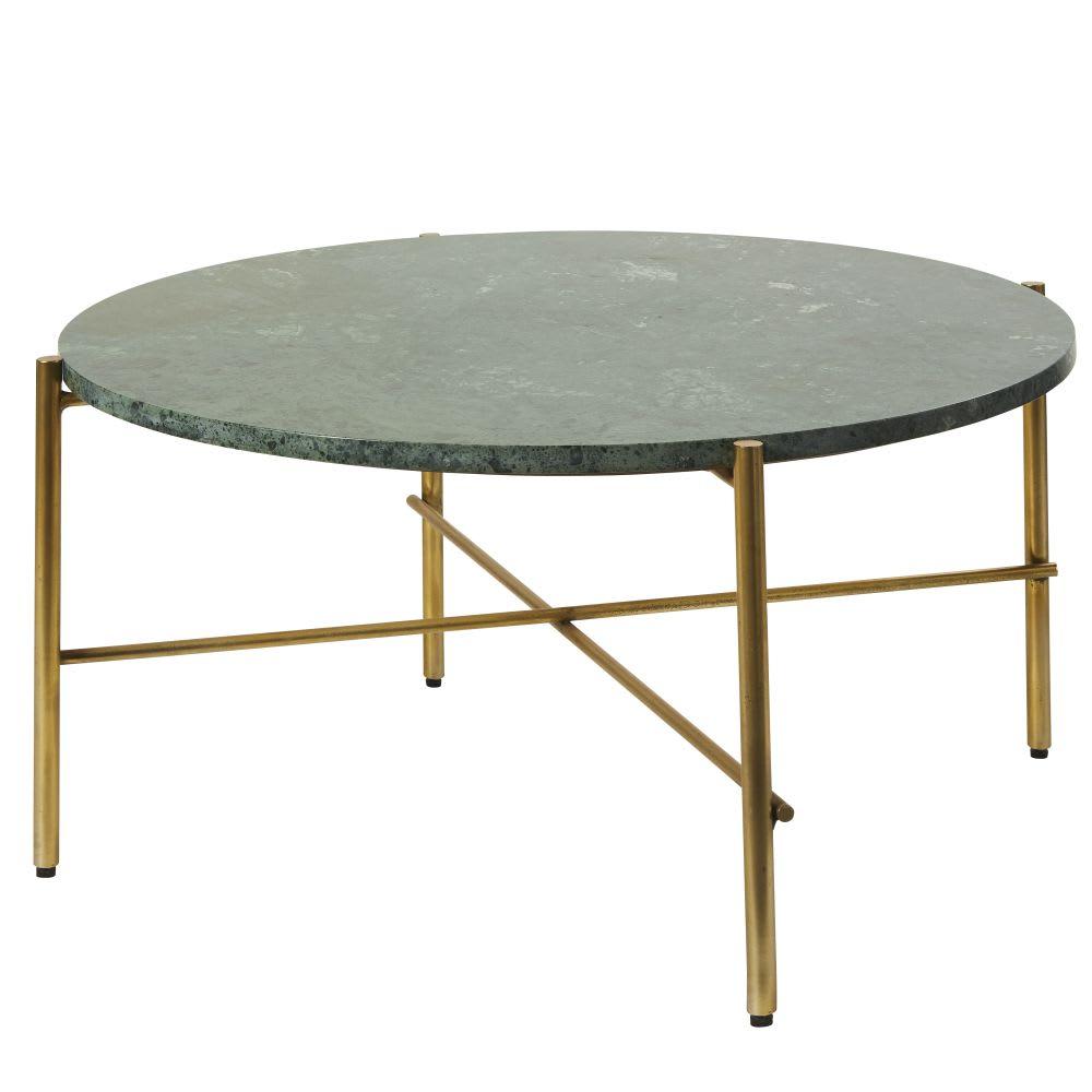 table basse ronde en marbre vert et m tal coloris laiton. Black Bedroom Furniture Sets. Home Design Ideas