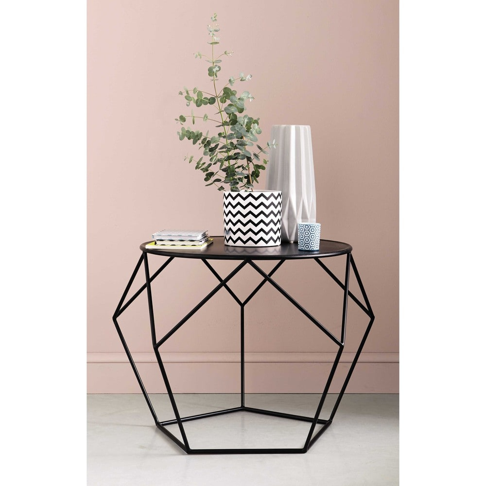 table basse ronde en m tal noir prism maisons du monde. Black Bedroom Furniture Sets. Home Design Ideas