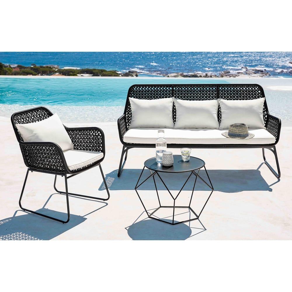 table basse ronde en m tal noir prism maisons du monde. Black Bedroom Furniture Sets. Home Design Ideas