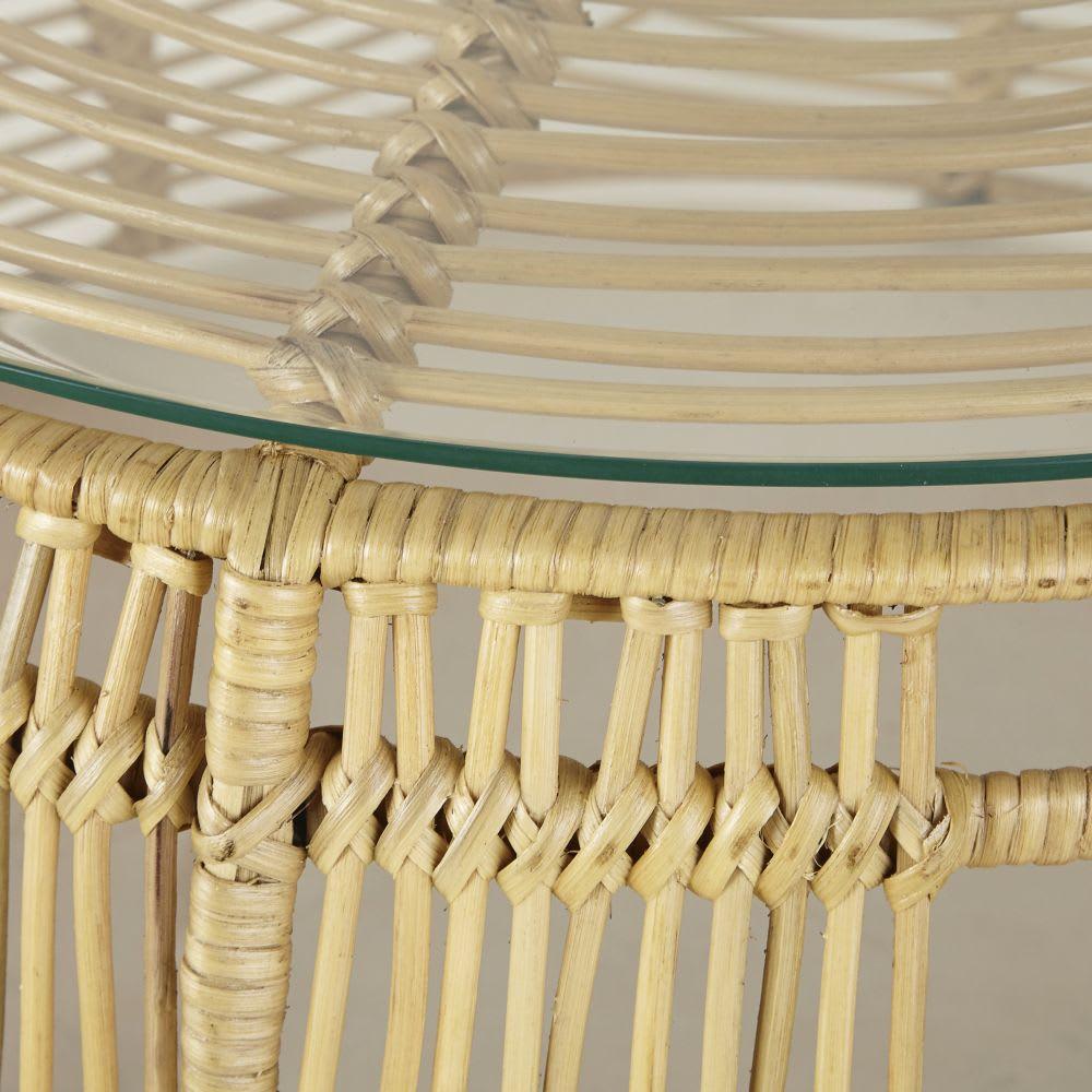 table basse ronde en rotin et en verre manoha maisons du. Black Bedroom Furniture Sets. Home Design Ideas