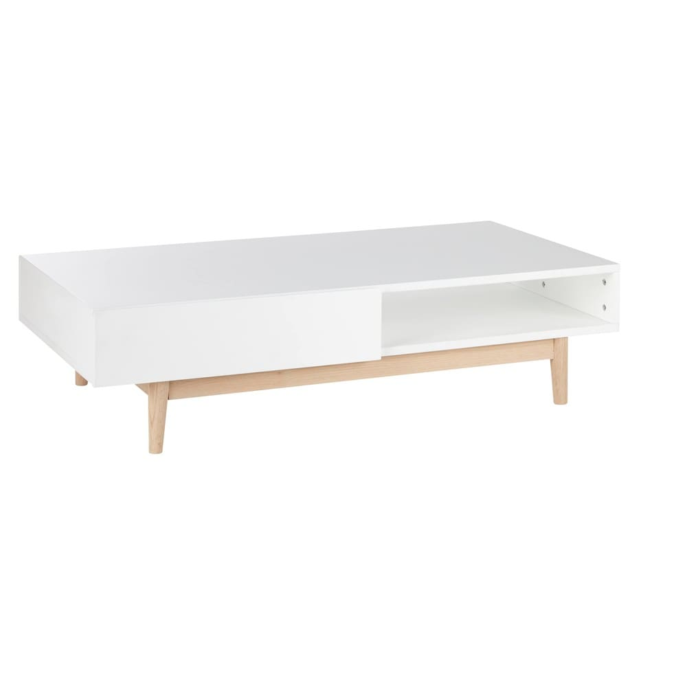 table basse style scandinave 2 tiroirs blanche artic maisons du monde. Black Bedroom Furniture Sets. Home Design Ideas
