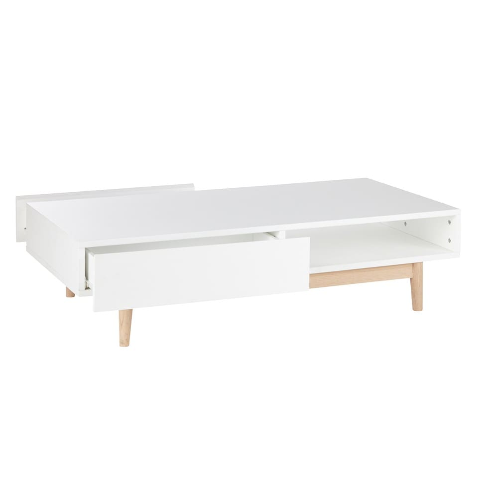 table basse style scandinave 2 tiroirs blanche artic. Black Bedroom Furniture Sets. Home Design Ideas