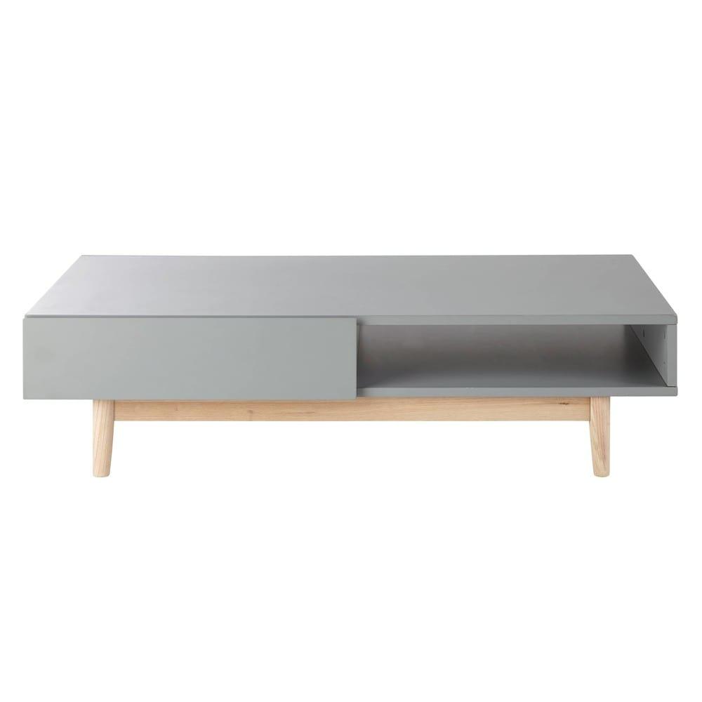 table basse style scandinave 2 tiroirs grise artic | maisons du monde
