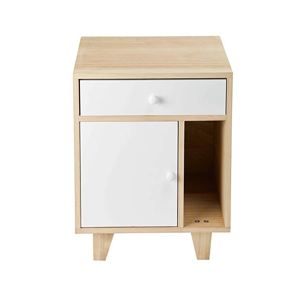 Table de chevet 1 porte 1 tiroir en paulownia blanc spring maisons du monde - Table chevet maison du monde ...