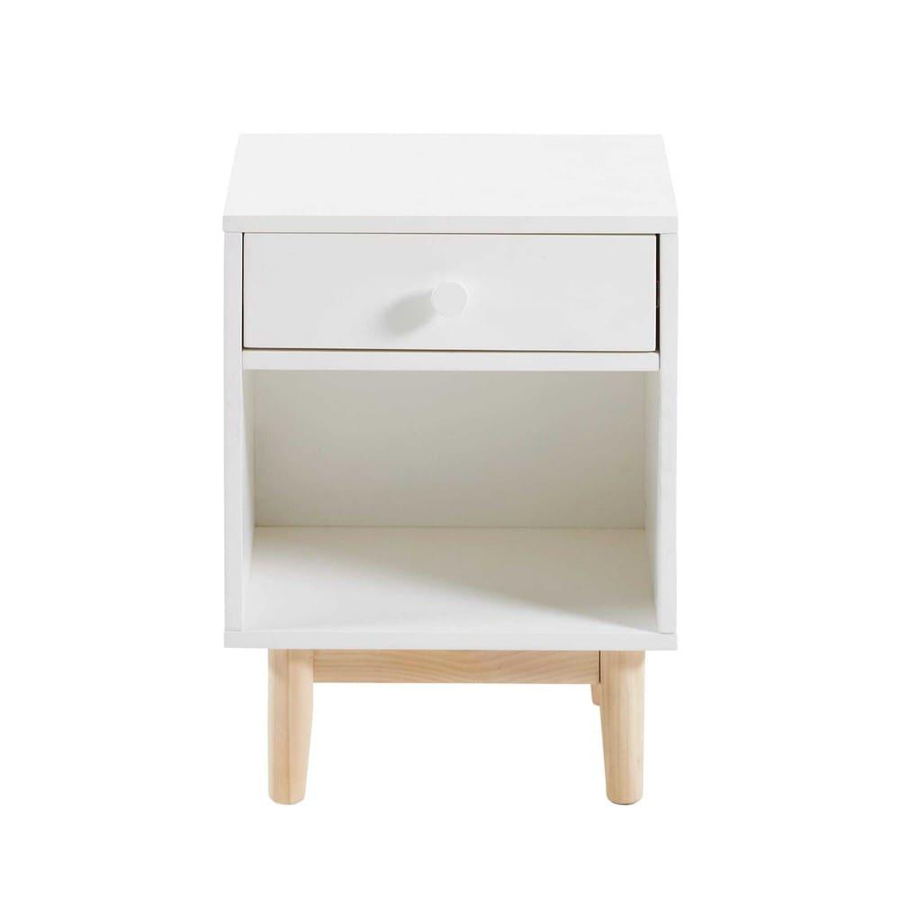 Table de chevet 1 tiroir blanc joy maisons du monde - Table chevet maison du monde ...