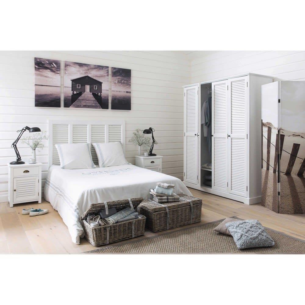 table de chevet 1 tiroir blanche barbade maisons du monde. Black Bedroom Furniture Sets. Home Design Ideas