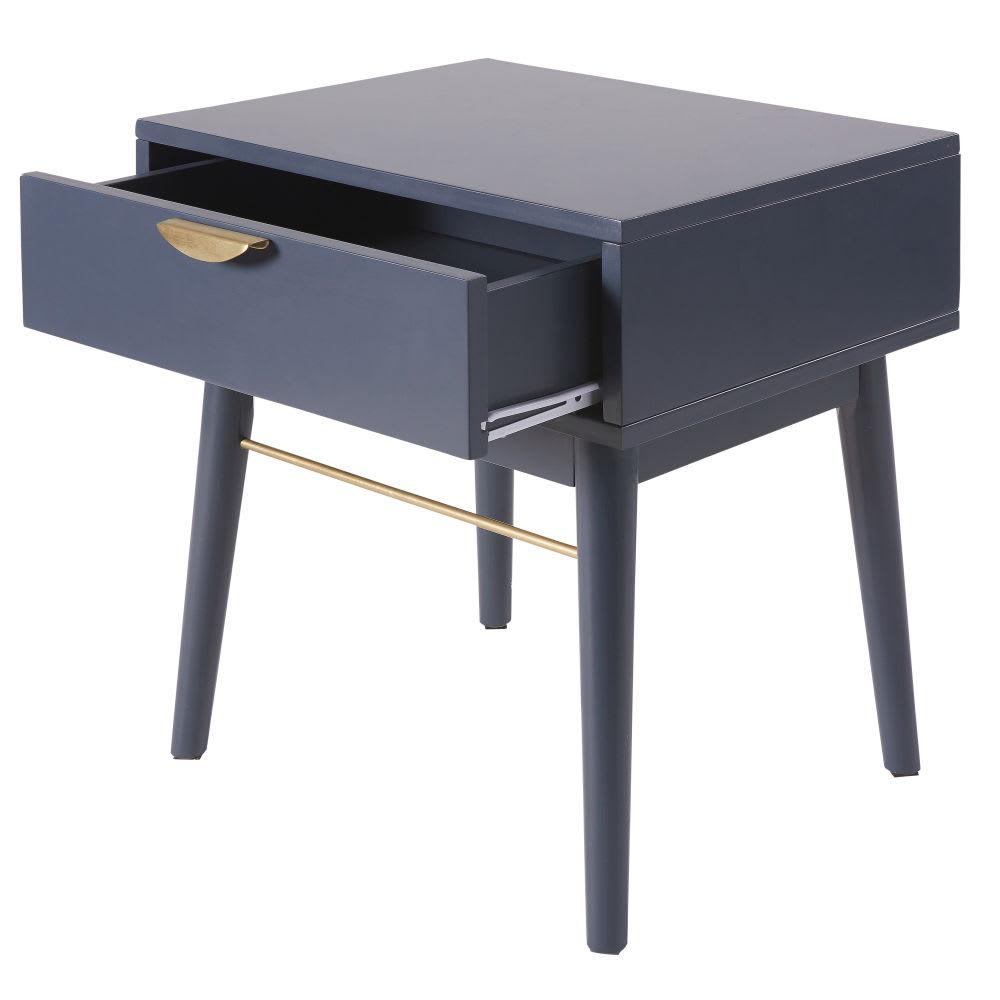 table de chevet 1 tiroir bleu fonc penelope maisons du. Black Bedroom Furniture Sets. Home Design Ideas