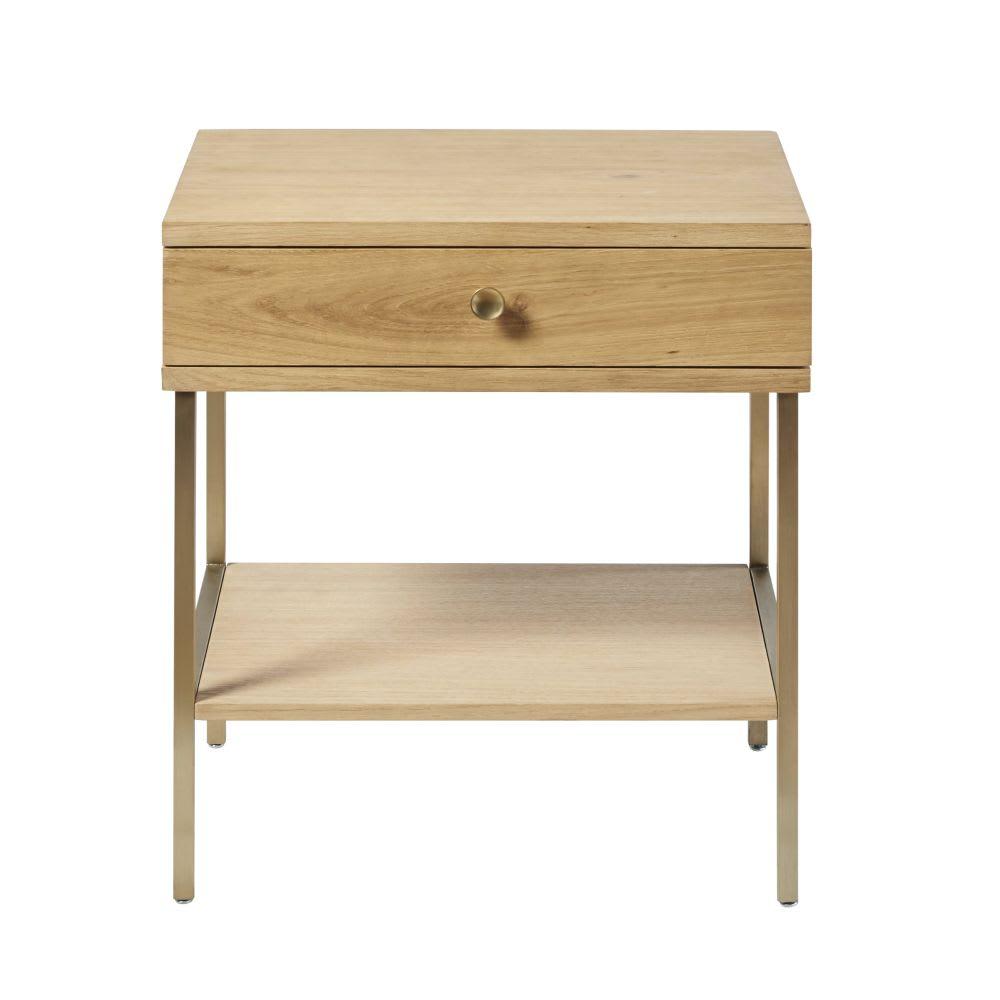 Table de chevet 1 tiroir et pieds en m tal coloris laiton - Table de chevet classique ...