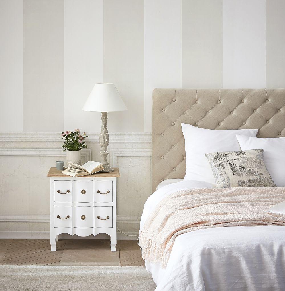 table de chevet 2 tiroirs en acacia et manguier blanche. Black Bedroom Furniture Sets. Home Design Ideas