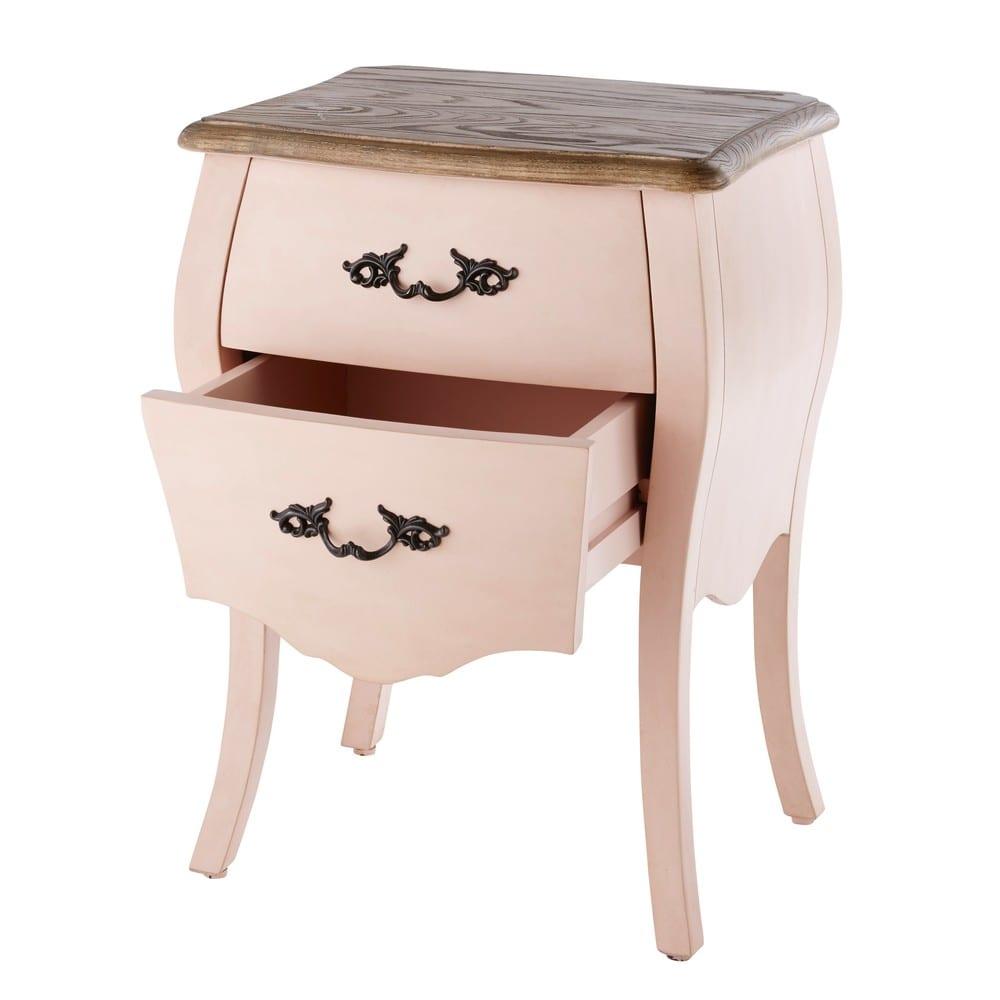 table de chevet 2 tiroirs rose clair haute couture. Black Bedroom Furniture Sets. Home Design Ideas