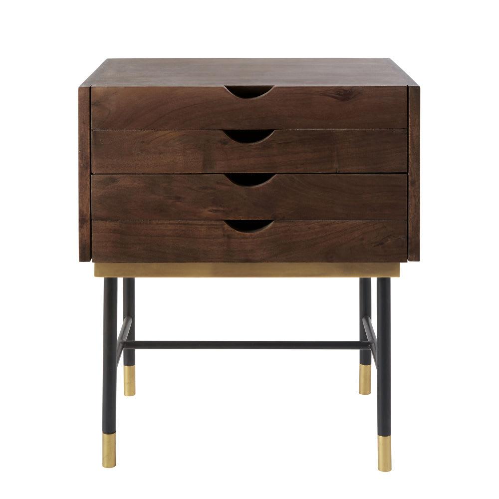 table de chevet 4 tiroirs en acacia et m tal noir sterling. Black Bedroom Furniture Sets. Home Design Ideas