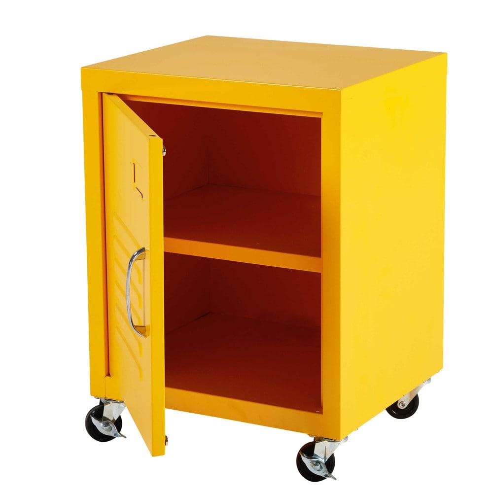 table de chevet roulettes en m tal jaune loft maisons du monde. Black Bedroom Furniture Sets. Home Design Ideas