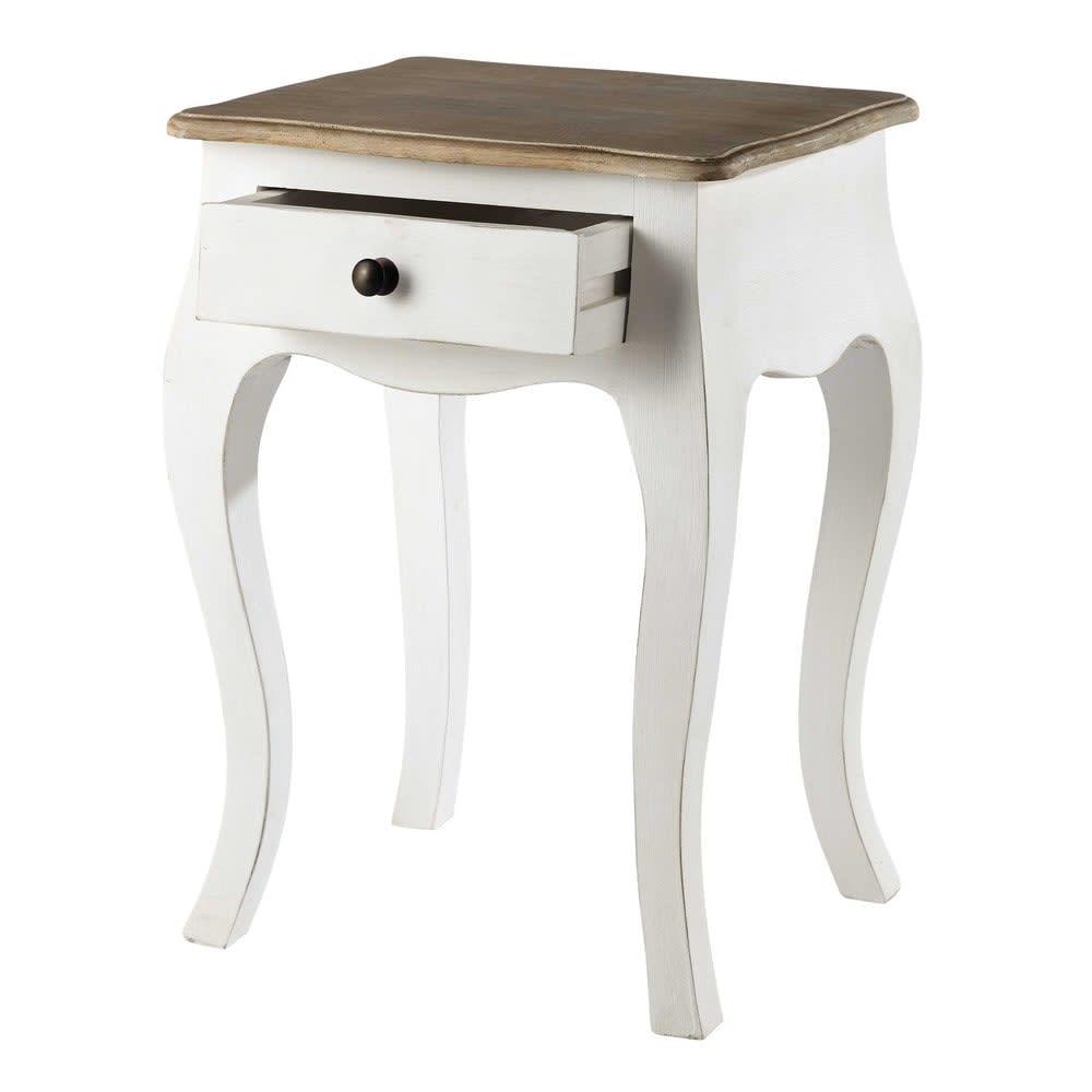 table de chevet avec tiroir en acacia et manguier blanche. Black Bedroom Furniture Sets. Home Design Ideas