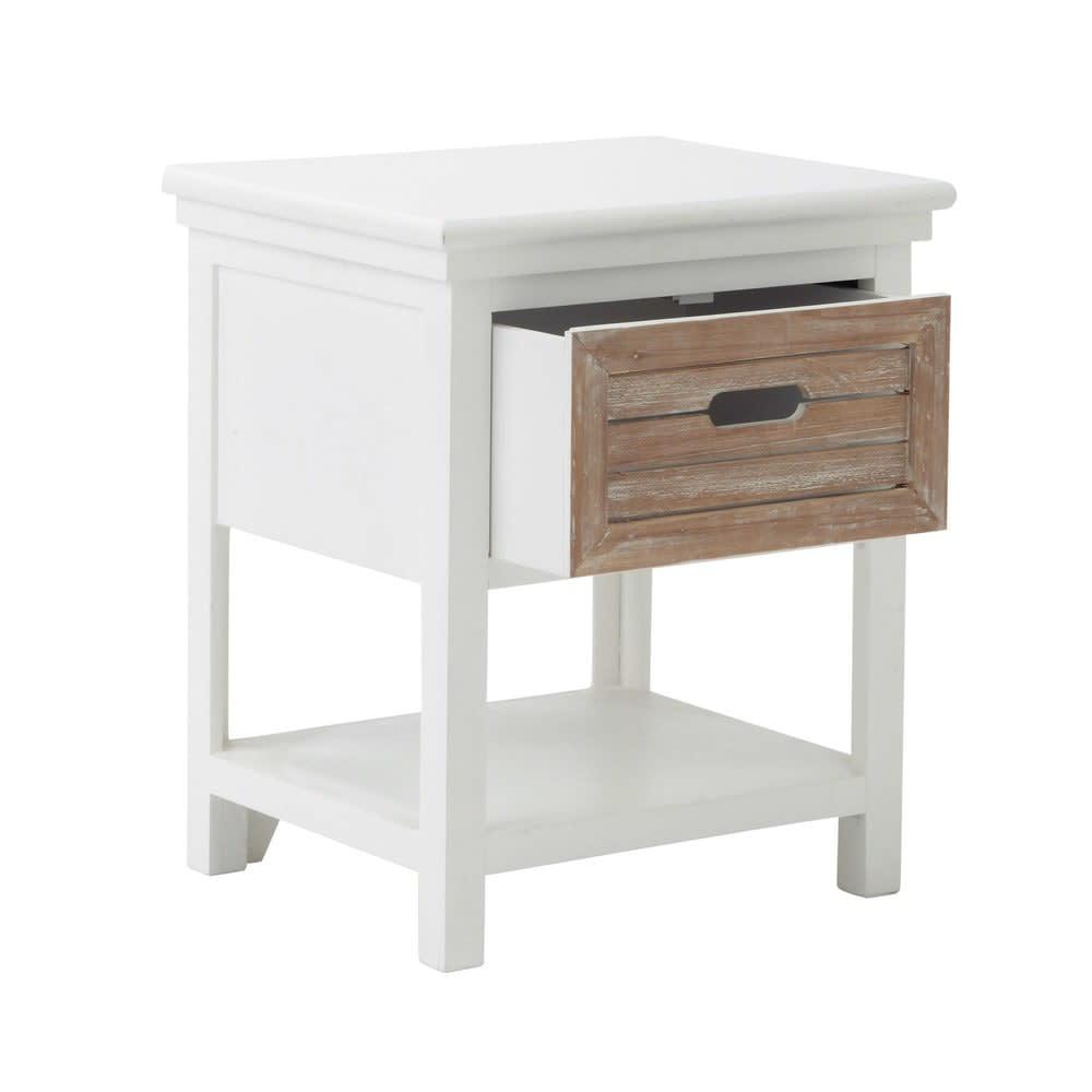table de chevet avec tiroir en sapin blanche ouessant. Black Bedroom Furniture Sets. Home Design Ideas