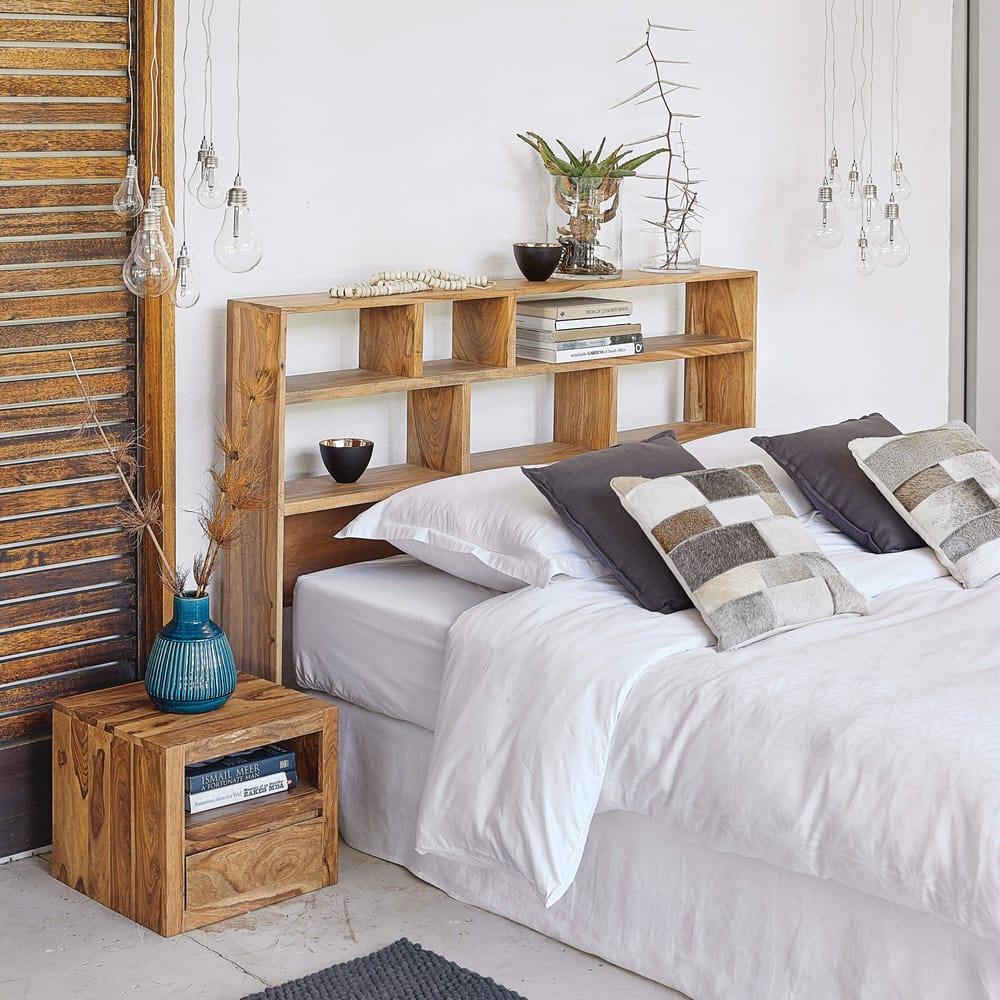 table de chevet avec tiroir en sheesham massif stockholm maisons du monde. Black Bedroom Furniture Sets. Home Design Ideas