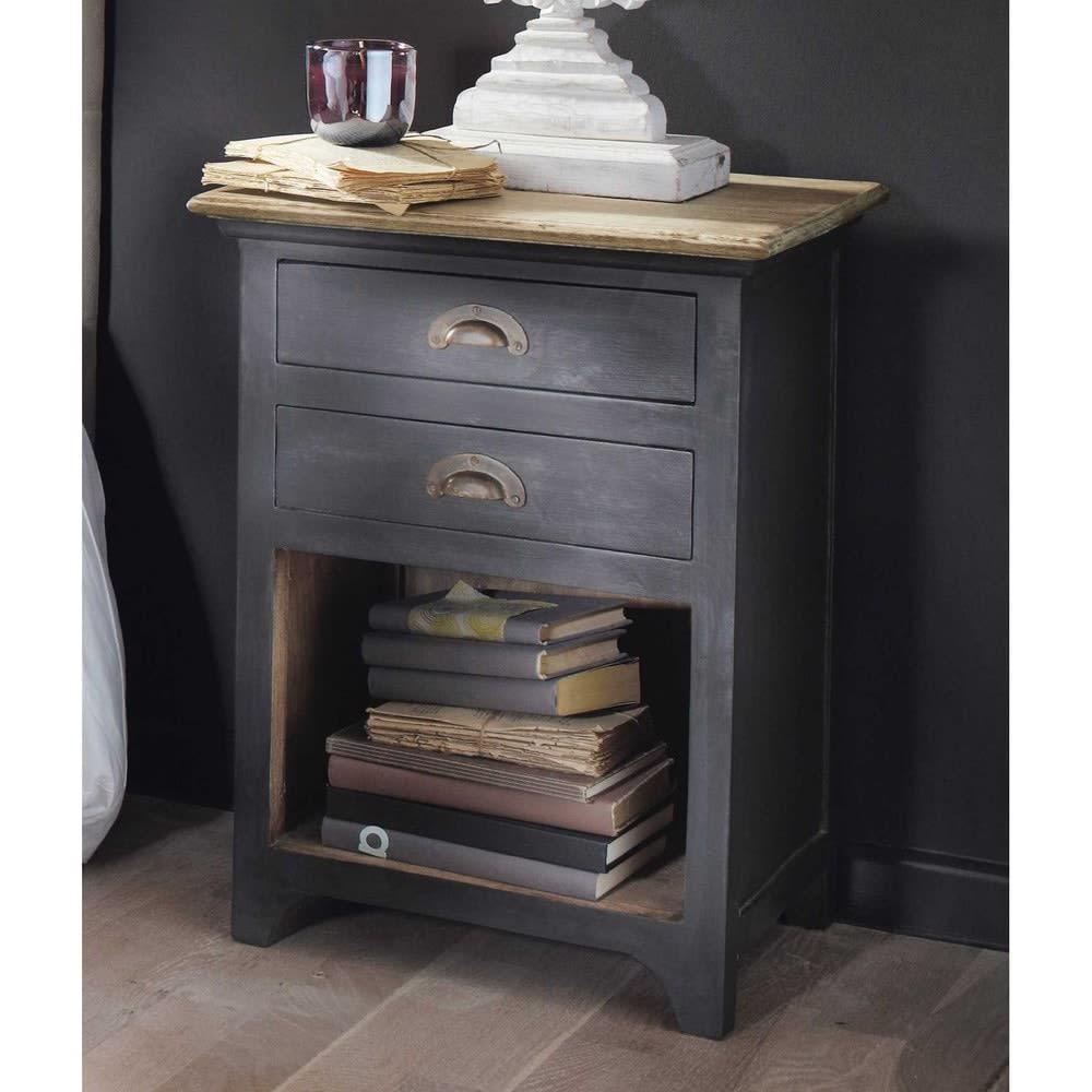 Table de chevet avec tiroirs en manguier gris l 45 cm - Mini table de chevet ...