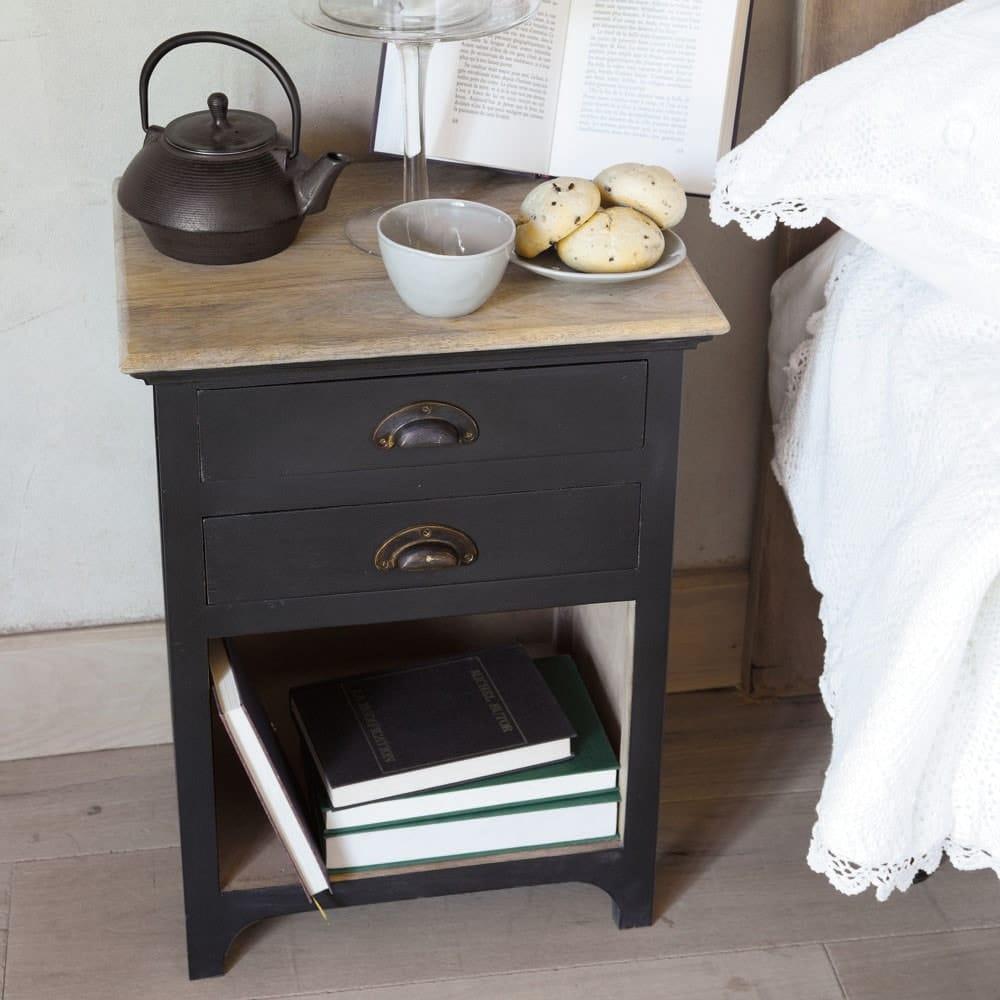 table de chevet avec tiroirs en manguier gris l 45 cm. Black Bedroom Furniture Sets. Home Design Ideas