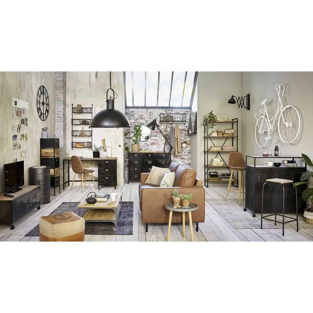 table de chevet bidon en m tal noir harlem maisons du monde. Black Bedroom Furniture Sets. Home Design Ideas
