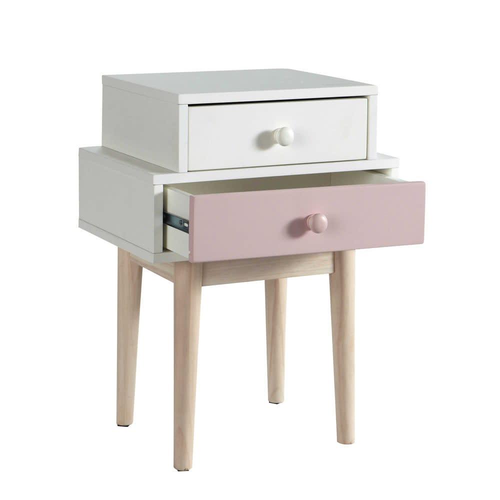 Table de chevet blanche et rose blush maisons du monde - Table de chevet rose ...